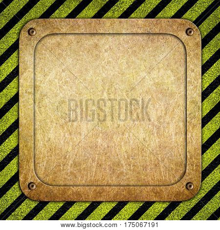 Metal Background With Warning Coloring Black And Yellow, Illustration 3D