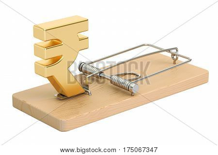 mousetrap with rupee sign 3D rendering isolated on white background