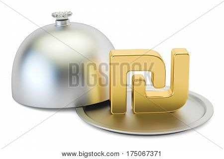 Restaurant cloche with gold shekel symbol 3D rendering