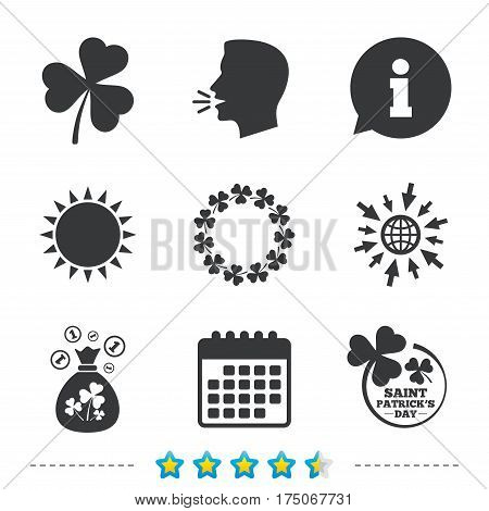 Saint Patrick day icons. Money bag with clover sign. Wreath of trefoil shamrock clovers. Symbol of good luck. Information, go to web and calendar icons. Sun and loud speak symbol. Vector