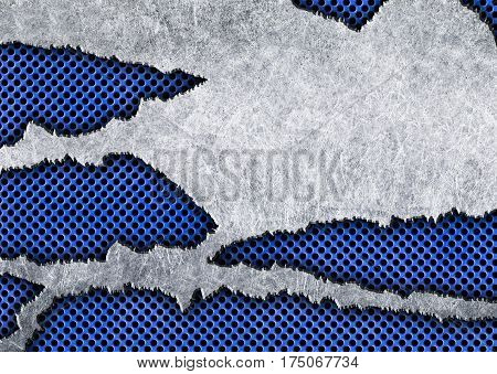 Metal Plate Background With Ragged Holes, Cut Iron, Illustration 3D