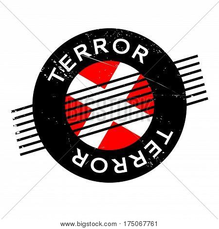 Terror rubber stamp. Grunge design with dust scratches. Effects can be easily removed for a clean, crisp look. Color is easily changed.