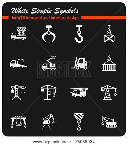 lifting machines white simple symbols for web icons and user interface design