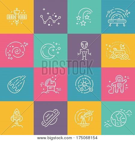 Big collection of uniue icons with different space objects including planets, alien, cosmonaut, solar system, rover. Line syle vector symbols of space and universe.
