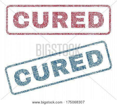 Cured text textile seal stamp watermarks. Blue red fabric vectorized texture. Vector caption inside rounded rectangular banner. Rubber emblem with fiber textile structure.