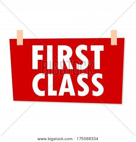 First Class Sign - illustration on white background