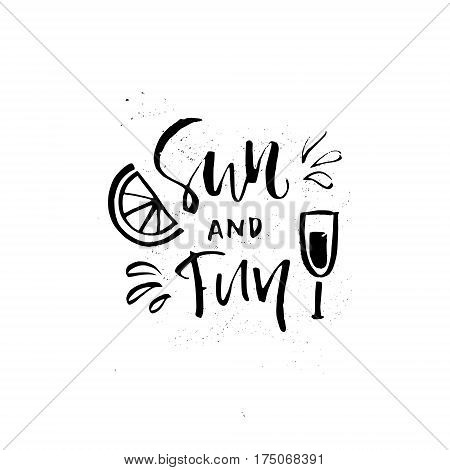 Vector illustration with hand lettering for summer vacation, travel agency, summer party. Beach vacation. Unique design for postcard, mug or poster.
