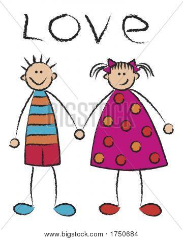 poster of boy + girl = love / illustrated cartoon