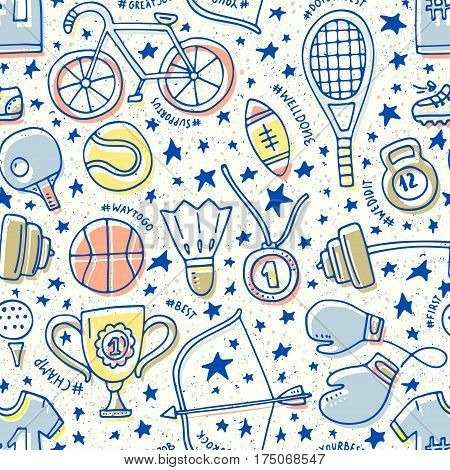 Unique seamless pattern with sport elements. Great background design for fitness centre or a gym. Boxing gloves, tennis racquet, bycicle and other sports gear.