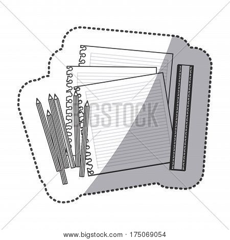 silhouette pencils color, notebook and rule icon, vector illustraction design