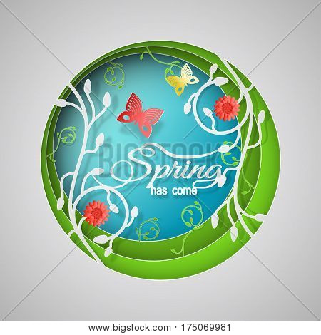 Multilayered Spring has come vector poster in style of the paper art carve on the gradient sunny blue and green background with floral pattern butterflies and red flowers.
