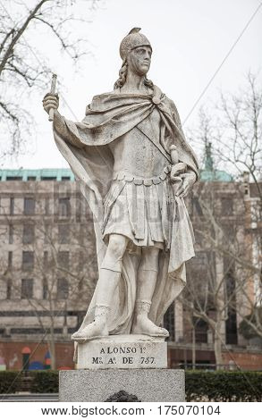 Madrid Spain - february 26 2017: Sculpture of Alfonso I of Asturias at Plaza de Oriente Madrid. He was called the Catholic reigning from 739 to his death in 757.