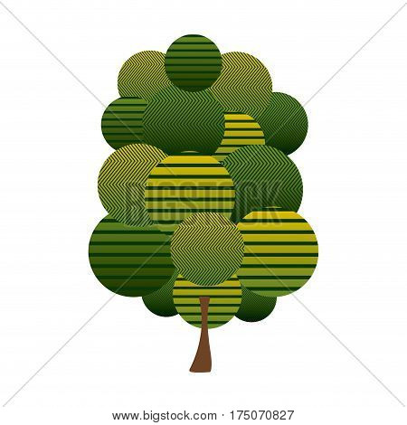 colorful green tree plant forest with abstract lines vector illustration