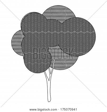 monochrome silhouette plant forest with wave lines vector illustration