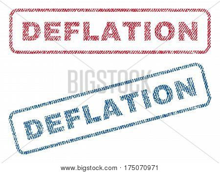 Deflation text textile seal stamp watermarks. Blue red fabric vectorized texture. Vector caption inside rounded rectangular shape. Rubber sign with fiber textile structure.