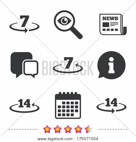 Return of goods within 7 or 14 days icons. Warranty 2 weeks exchange symbols. Newspaper, information and calendar icons. Investigate magnifier, chat symbol. Vector