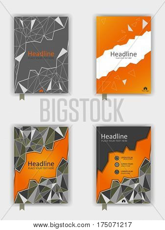 Cover design set in A4 with low poly elements. Orange vector illustration.