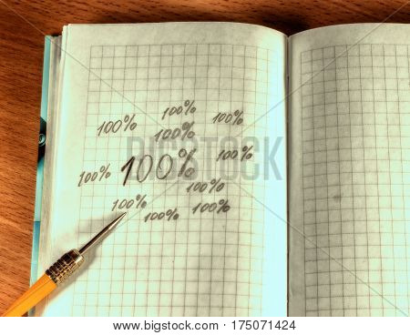 Needle of a dart on a notebook A sports projectile for throwing his task to hit the target