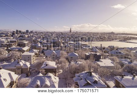 Aerial image of Reykjavik the capital of Iceland after heavy snowfall in winter