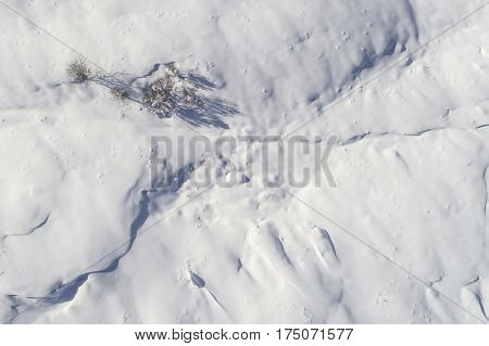 Aerial image of a snow covered landscape