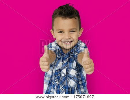 Little Boy Two Thumb up Concept