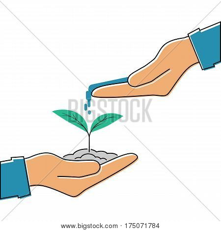 Planting sapling. Man farmer gardener hold sprout in hand. Care environmental development. Ecology concept. Vector flat line design. Watering young sapling falling drop of water isolated. Plant sprout