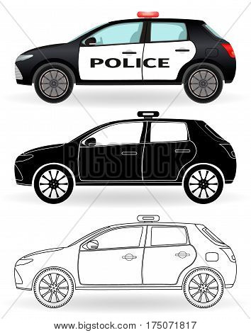 Police car colored black silhouette outline isolated on a white background. Patrol vehicle in three differen styles. Flat vector illustration.