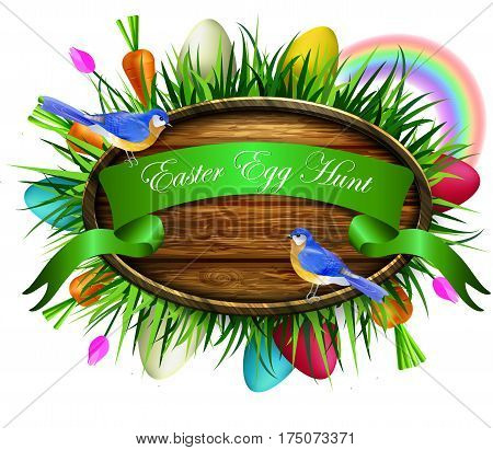 Happy Easter egg hunt ribbon on wooden board on a lawn with flowers blue butterflyes easter eggs carrots and ladybug bluebirds vector