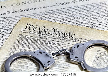 Us Constitution Historical Documents With Handcuffs