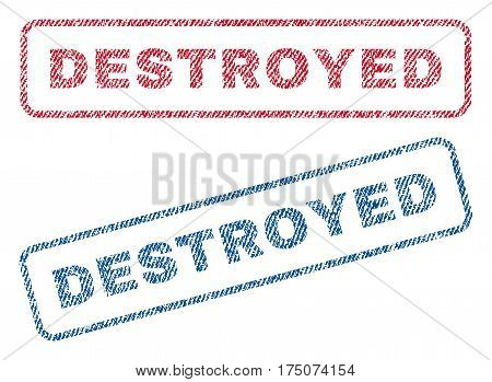 Destroyed text textile seal stamp watermarks. Blue, red fabric vectorized texture. Vector tag inside rounded rectangular banner. Rubber emblem with fiber textile structure.