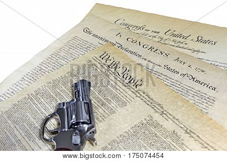 Us Constitution Historical Documents With Hand Gun