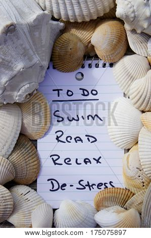 To Do List for De-Stressing at the Beach.