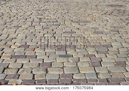 Texture of old grey cobblestone road surface