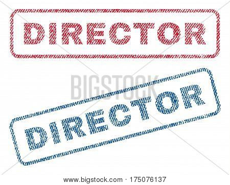 Director text textile seal stamp watermarks. Blue, red fabric vectorized texture. Vector tag inside rounded rectangular banner. Rubber sign with fiber textile structure.