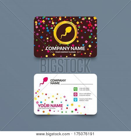 Business card template with confetti pieces. Sperm sign icon. Fertilization or insemination symbol. Phone, web and location icons. Visiting card  Vector