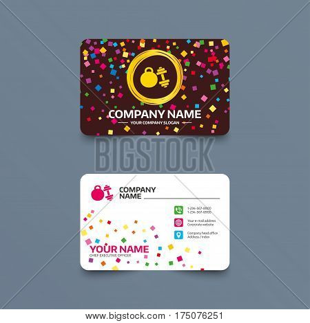 Business card template with confetti pieces. Dumbbell with kettlebell sign icon. Fitness sport symbol. Gym workout equipment. Phone, web and location icons. Visiting card  Vector