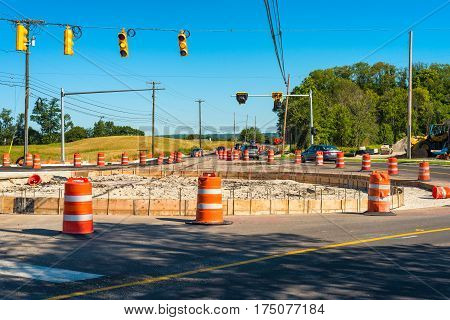 Construction of a new roundabout or traffic circle in a NE Ohio suburban intersection