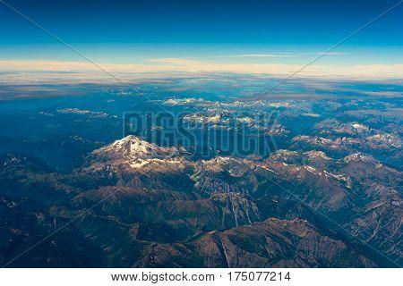 Aerial view of Glacier Peak (left center) in Washington's North Cascades
