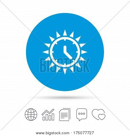Summer time icon. Sunny day sign. Daylight saving time symbol. Copy files, chat speech bubble and chart web icons. Vector