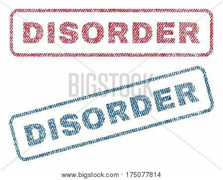 Disorder text textile seal stamp watermarks. Blue, red fabric vectorized texture. Vector tag inside rounded rectangular shape. Rubber emblem with fiber textile structure.