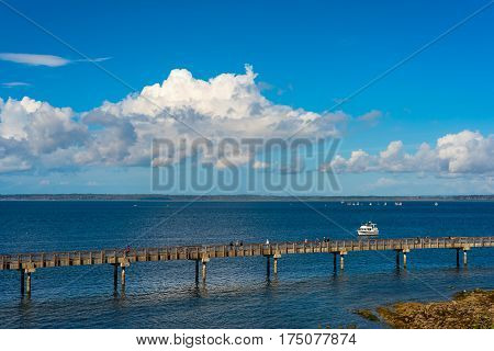 Part of the Pier at Bellingham Washington the over water section of a longer walking trail