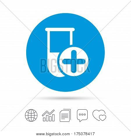 Medical test tube sign icon. Add new test with plus. Laboratory equipment symbol. Copy files, chat speech bubble and chart web icons. Vector