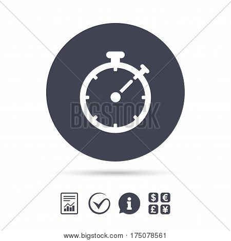 Timer sign icon. Stopwatch symbol. Report document, information and check tick icons. Currency exchange. Vector