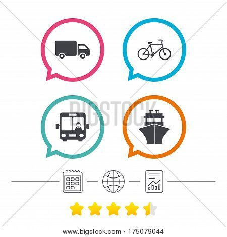 Transport icons. Truck, Bicycle, Public bus with driver and Ship signs. Shipping delivery symbol. Family vehicle sign. Calendar, internet globe and report linear icons. Star vote ranking. Vector