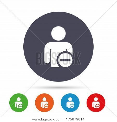 Delete user sign icon. Remove friend symbol. Round colourful buttons with flat icons. Vector