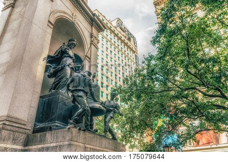 NEW YORK CITY, USA - AUGUST 12, 2016: Memorial James Gordon Bennet - was the founder, editor and publisher of the New York Herald and a major figure in the history of American newspapers.