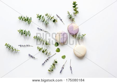 woman table in pastel colors with lavander, macaroons and eucalyptus on white background top view