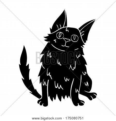 Turkish Angora icon in black design isolated on white background. Cat breeds symbol stock vector illustration.