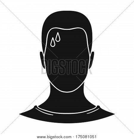A sweaty man.The man is sweating from diabetes.Diabetes single icon in black style vector symbol stock web illustration.