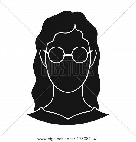 A woman with blond hair with glasses.A blind woman because of diabetes.Diabetes single icon in black style vector symbol stock web illustration.